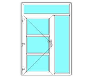 3 Vak glasdeur links met zijlicht en bovenlicht