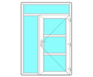 3 Vak glasdeur links met zijlicht