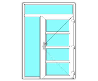 4 Vak glasdeur links met zijlicht en bovenlicht