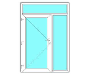 Glasdeur links met zijlicht en bovenlicht