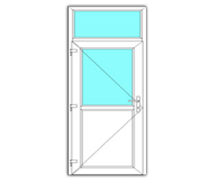 Halfglasdeur links met bovenlicht
