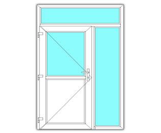 Halfglasdeur links met zijlicht en bovenlicht