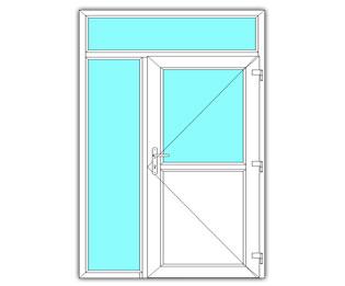 Halfglasdeur rechts met zijlicht en bovenlicht