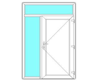 Paneeldeur rechts met zijlicht en bovenlicht