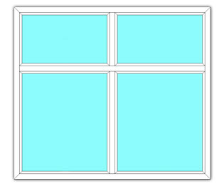 Vast raam met zijlicht en twee bovenlichten